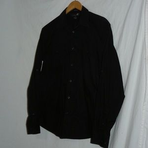 J. FERRAR Jet Black LS Button-up Dress Shirt, sz M